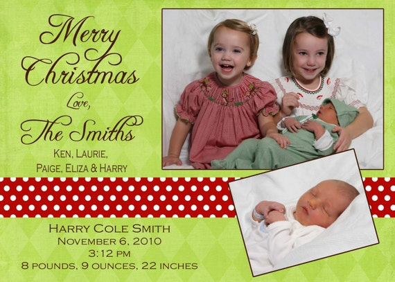 Christmas birth announcement -  photo Christmas Card - Digital file- Photo Holiday Card and Birth Announcement