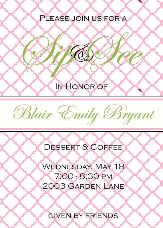 Baby Shower  Invitations - Digital File or PRINTED CARDS - Sip and See - pink lattice