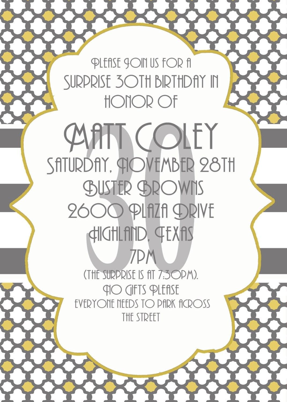 Surprise Party invitation- 30th Birthday Invitation- Digial File ...
