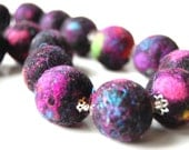 SALE - Disco Balls - A Funky Felt Necklace made with Spectacular Hand Felted Black Beads.