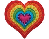 Rainbow Heart - A colourful card, from a hand stitched felt heart design.