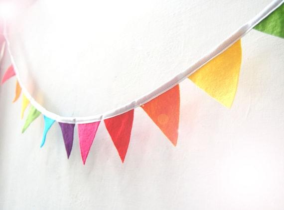 Mini Rainbow Bunting - Colorful Funky Felt Flag Banner