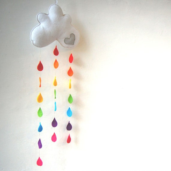 Rainbow Raindrops Cloud Mobile - A Funky Felt Wall Decoration from Clara Luna. Baby Shower. New Baby Gift. Nursery Decor