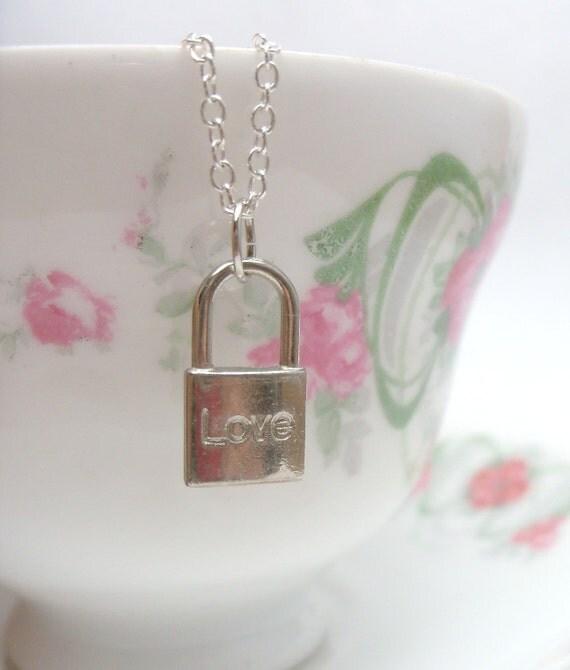 Verona - silver love padlock charm NECKLACE