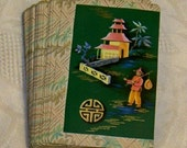 Vintage SALE .. Pinochle Playing Cards in Box .. Oriental Scene