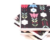Tile Coasters - Tulips - Set of 4 Coasters (Black, Red, Pink, Green, Blue)