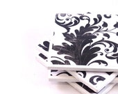 Tile Coasters - Classic Black and White Leaves (Set of 4 Coasters) - LAST SET