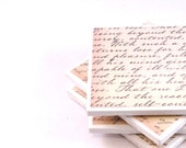 Tile Coasters - Vintage Letter - Set of 4 Coasters (Beige and Black)