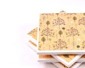 Coasters - Peach Trees and Leaves, Set of 4 Ceramic Tile Coasters