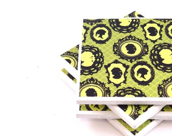 Ceramic Tile Coasters - Cameos (Bright Green and Black) - Set of 4