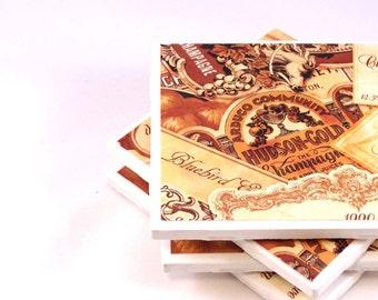 Tile Coasters - Vintage Labels - Set of 4 Ceramic Coasters (LAST SET)