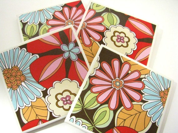 Tile Coasters - Bright and Happy Floral - Set of 4