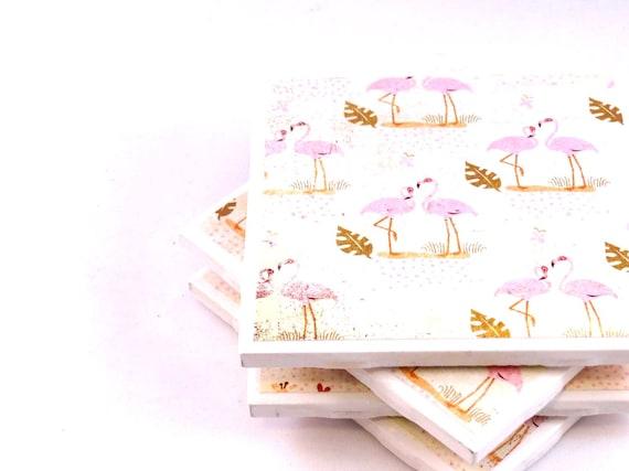 Sale - Tile Coasters - Flamingos - Set of 4 Coasters