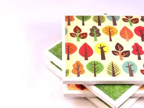 Tree Coasters - Forest Fun - Set of 4 Ceramic Tiles