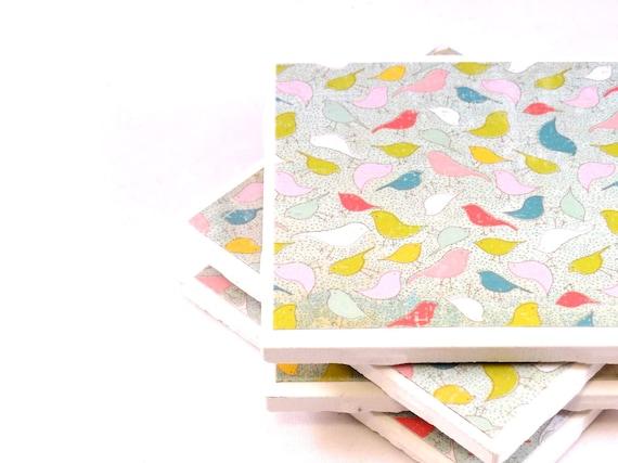 Birds Coasters - Itsy Bitsy Birds - Set of 4 Tile Coasters