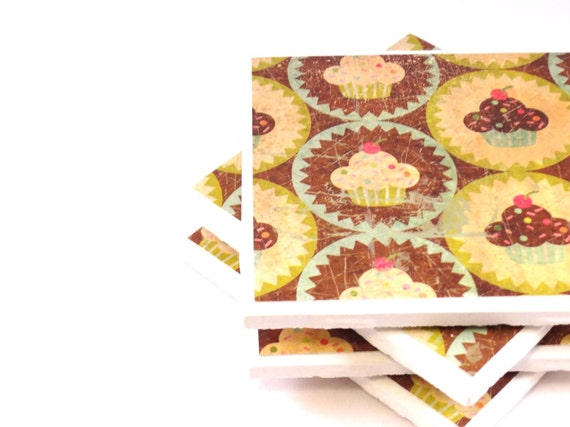 Tile Coasters - Brown and Beige Cupcakes - Set of 4 Coasters