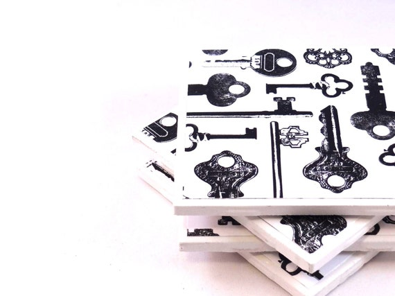 Black and White Coasters - Vintage Keys - Set of 4 Ceramic Tile Coasters