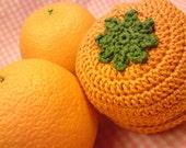 Teacher's Pet knit and crochet fruit protector pouch - orange orange (it's a classic)