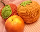 RESERVED LISTING FOR krantzwerk - Teacher's Pet crochet and knit fruit pouches x 2 (1 x apple, 1 x orange)