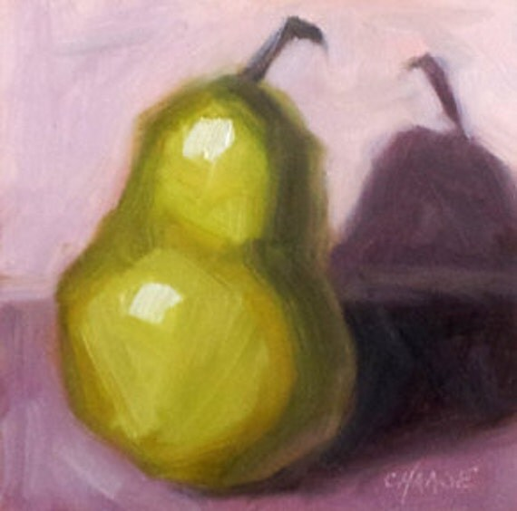Pear Up 4 x 4 Original Small Oil Painting