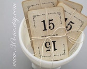 Shabby Chic White Vintage Number Cards, set of 15