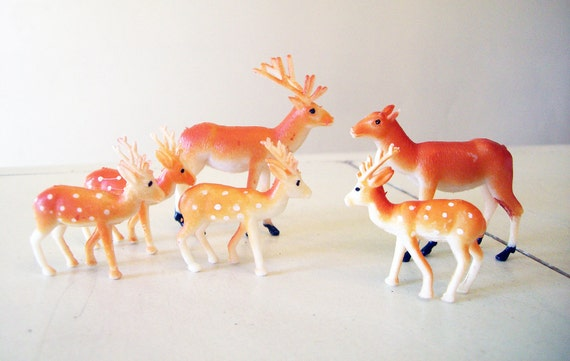Plastic Deer, A Family of Six, New Old Stock Woodland Creatures