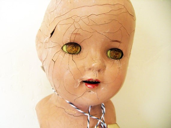 New Lower Price- Vintage Composition Doll, Beautifully Crackled , With Sleepy Eyes- A VERY TALL DoLL- CROWN Not Included