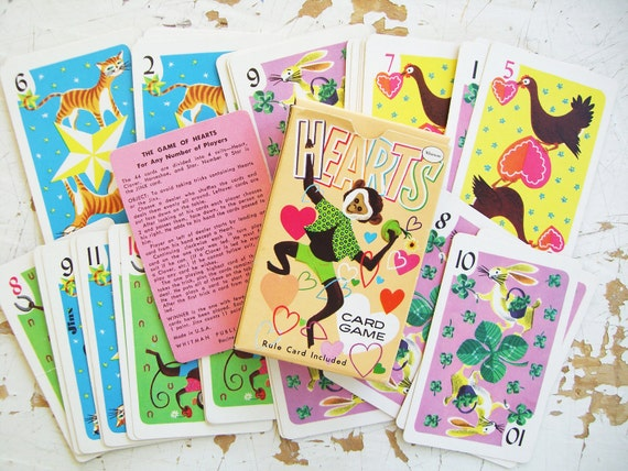 SUMMER SALE- Vintage Whitman Hearts Card Game- Complete Deck Plus Box