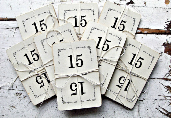 Vintage Number Cards, DOUBLE set of 30- Use Them as Pretty Wedding Table Numbers
