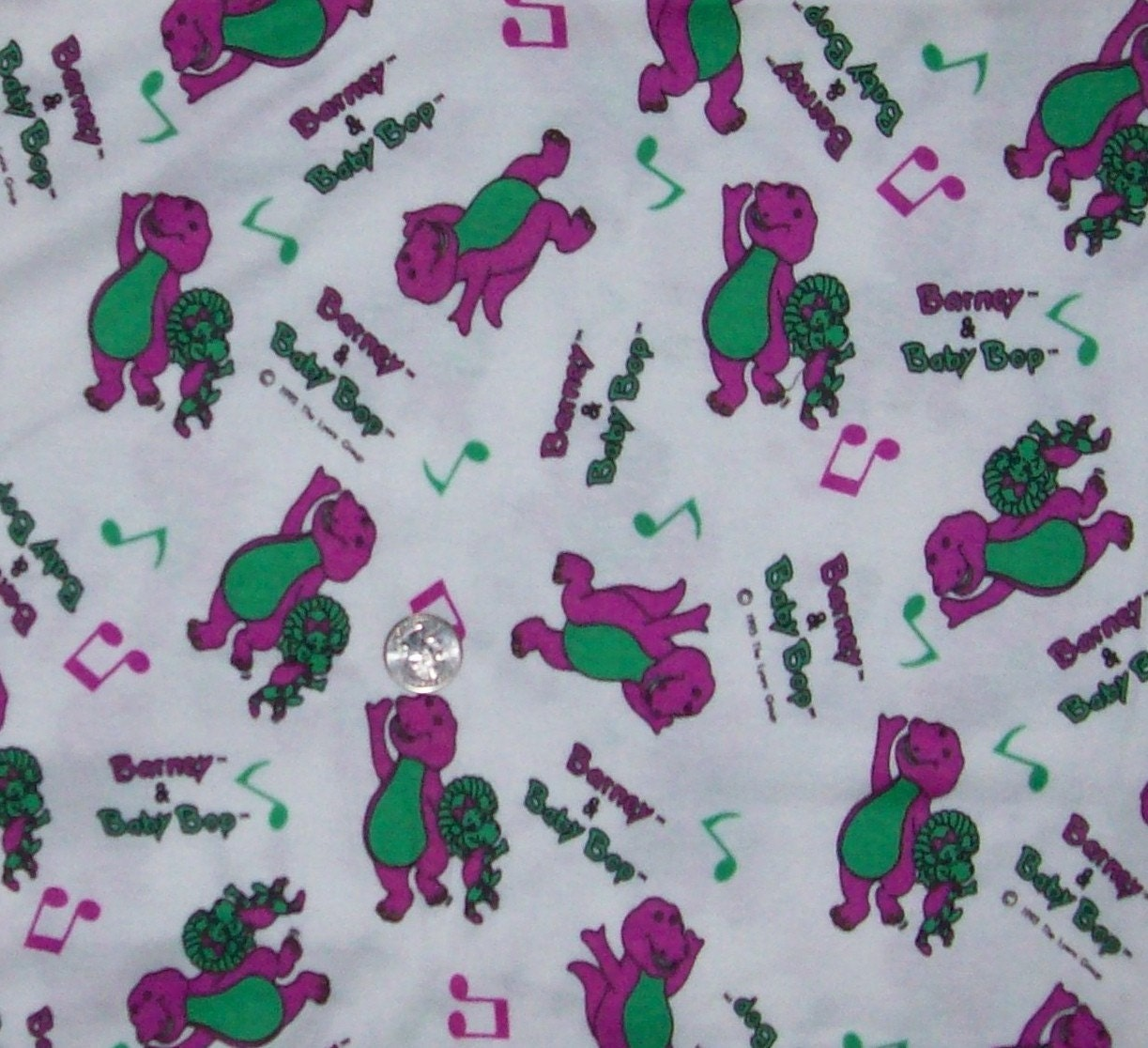 barney fabric knit material 1 2 yards purple dinosaur