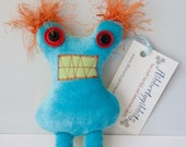 Ira Stuffed Monster and blue cyclops magnet RESERVED for WishesAndWhimsies