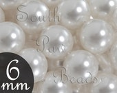 6mm White Swarovski pearl glass beads, Style 5810 (25)