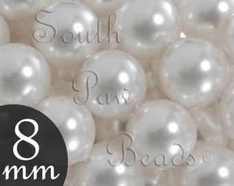 8mm White Swarovski faux pearls, Qty 25