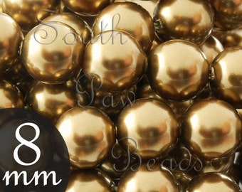 8mm Antique Brass Round pearls Swarovski crystals on Close Out Style 5810 (179)