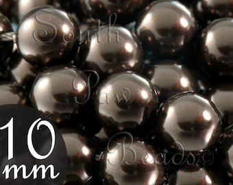 Close Out Swarovski crystal 5810, 10mm Deep Brown pearl beads, Qty 10