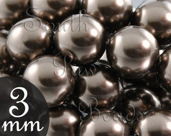 3mm Brown Glass pearl beads by Swarovski, Style 5810, Qty 50