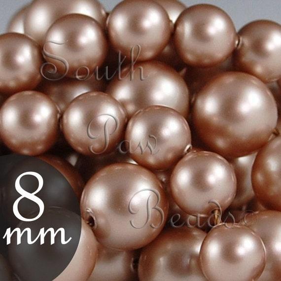 Swarovski crystal 5810, 8mm Powder Almond pearl beads, Qty 25