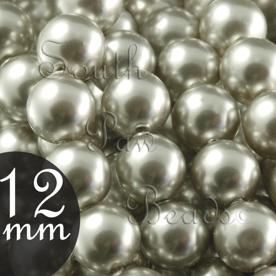 12mm Light Grey Glass Pearl Beads by Swarovski elements, Style 5810 (5)
