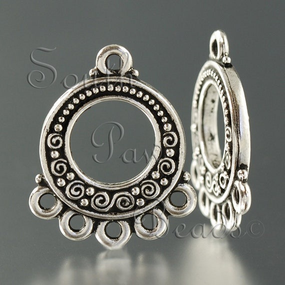 TierraCast, Antique Silver Spirals and Beads Link (4)