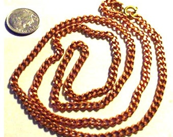 MERZIEs 24-inch copper 3mm CURB CHAIN link with brass clasp necklace