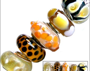 MERZIEs set 5 silver lampwork glass European Charm chain beads yellow white amber orange black
