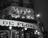 Cafe de Flore, Paris - Signed 11 x 14 Black and White Fine Art Travel Photograph, France, Europe, Restaurant, Brasserie, by IlluminatedLuna