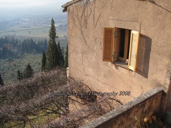 Umbrian Villa, Window overlooking the Italian Countryside - 5 x 7 Signed Fine Art Travel photograph from Italy by IlluminatedLuna on Etsy