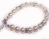 Bridal Bracelet, Wedding Jewelry, Pearl Bracelet, Swarovski Pearls: Kassie 8mm Bracelet