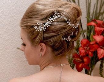 Hair Vine with Rhinestones Bridal Wedding Headpiece Boho Floral Hairpiece: Garden of Eden Vine