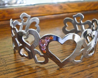 Heart Bracelet with Swarovski Crystals, Cuff Bracelet Gift for Her, OOAK