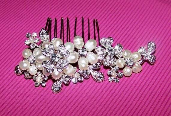 Weddings, Accessories, Hair Comb, Bridal Comb, Pearl Rhinestone Floral Hair Comb Bridal:  Allison Comb