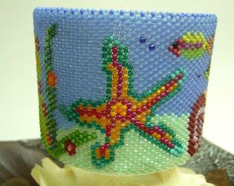 Handmade Beadwork. Lifestyle - Under the Sea ll Tealight Holder