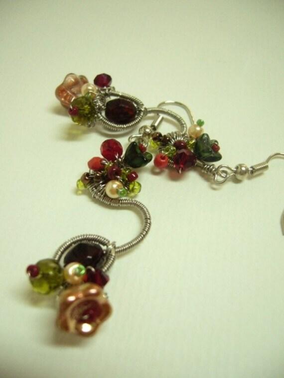 Handmade Beadwork. Jewellery - Earrings - Spring Blush