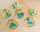 Shaker Connector Sleeping Beauty Turquoise INSIDE Lemon Quartz Sterling Silver Spacer  Bead QTY1